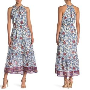 J. crew | Ruffle Neck Printed Midi Dress c1